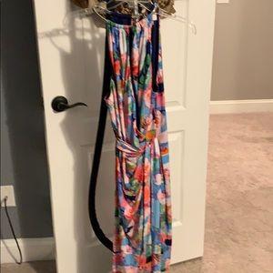 Floral faux wrap front dress